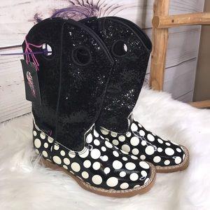 Blazin Roxx Girls Polka Dot Glitter Boots 10 NWT